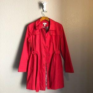 Ann Taylor LOFT Red Trench Coat W/ Belt Size Med